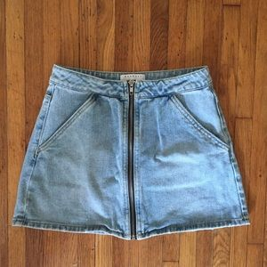 Kendall & Kylie Front Zip Denim Mini Skirt
